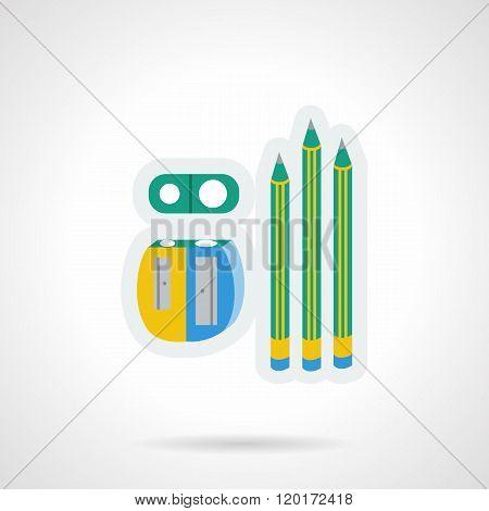 Pencils flat color design vector icon