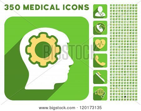 Human Mind Icon and Medical Longshadow Icon Set
