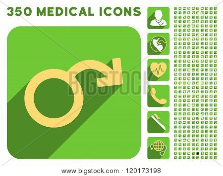 Impotence Icon and Medical Longshadow Icon Set