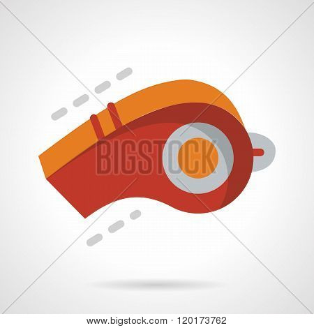 Red whistle flat color design vector icon