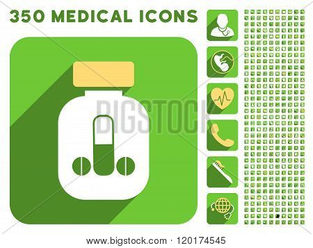 Male Medicine Icon and Medical Longshadow Icon Set