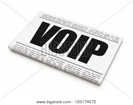 Web design concept: newspaper headline VOIP
