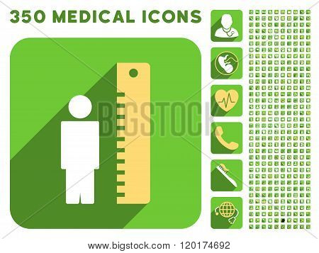 Man Height Meter Icon and Medical Longshadow Icon Set