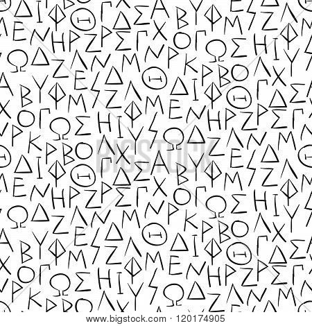Seamless Pattern With Greel Letters On The Wall