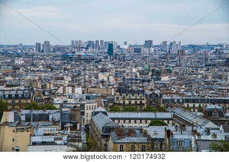 Paris France 2014 April 20 The Montmarte district of Paris is an historic entertainment area of Paris with views over the city
