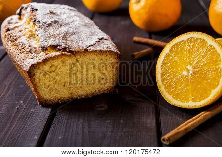 Orange cake on the corn flour with orange liqueur