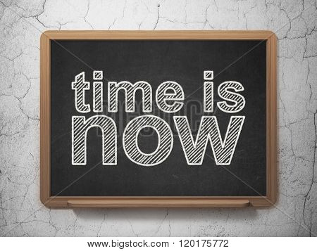 Time concept: Time is Now on chalkboard background