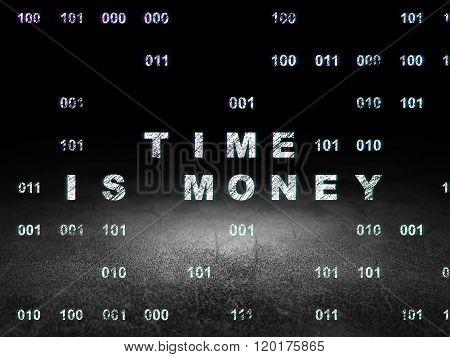 Timeline concept: Time Is money in grunge dark room