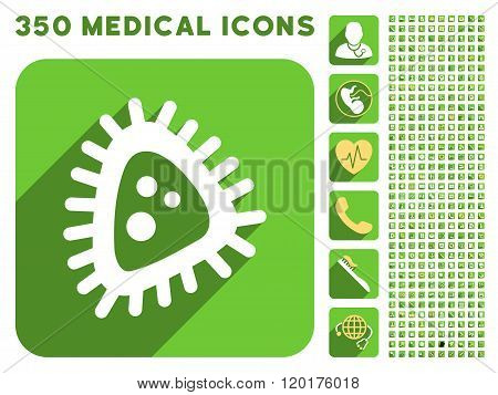 Micro Parasite Icon and Medical Longshadow Icon Set