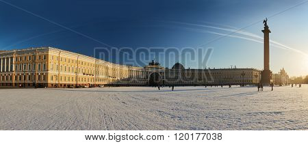 Russia, Saint-Petersburg, 1 march 2016: Palace Square in winter, Alexander Column, the arch of the Main Staff, at sunset, triumphal chariot