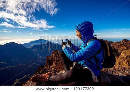 Woman traveling mountains on La Palma island