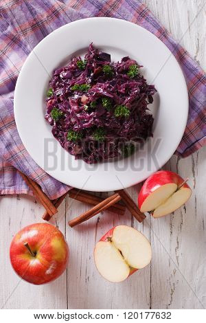 Braised Red Cabbage With Apples And Cinnamon Close-up. Vertical Top View