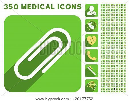 Paperclip Icon and Medical Longshadow Icon Set