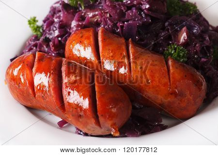 Braised Red Cabbage And Grilled Sausages Closeup. Horizontal