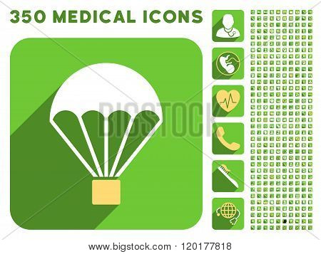 Parachute Icon and Medical Longshadow Icon Set