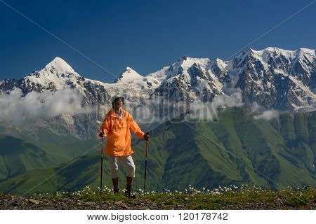 Tourist In Mountains - summer Vacations