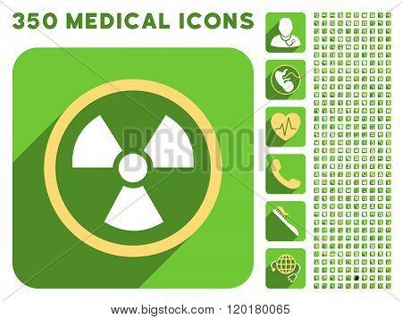 Radiation Danger Icon and Medical Longshadow Icon Set
