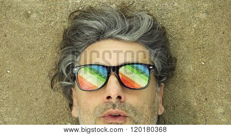 surprised expression middle-aged man wearing rainbow glasses ** Note: Soft Focus at 100%, best at smaller sizes