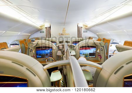 BANGKOK, THAILAND - MARCH 31, 2015: interior of Emirates Airbus A380. Emirates is one of two flag carriers of the United Arab Emirates along with Etihad Airways and is based in Dubai.