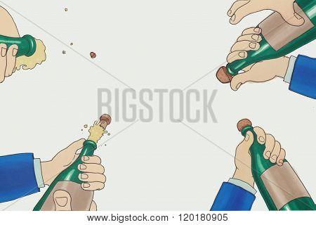 Illustration Of A Champagne Bottle