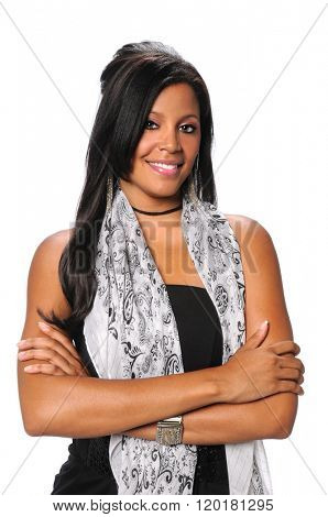 Beautiful millennial African American businesswoman smiling isolated over white background