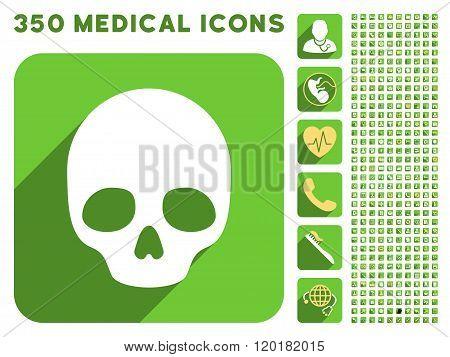 Skull Icon and Medical Longshadow Icon Set