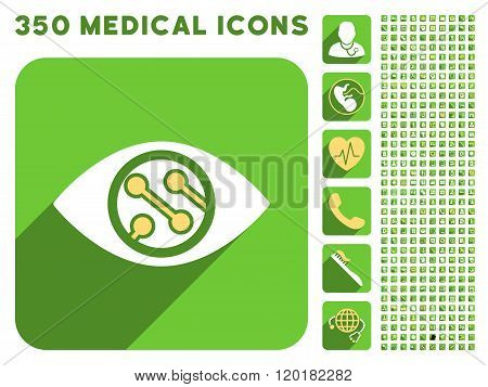 Smart Lens Icon and Medical Longshadow Icon Set