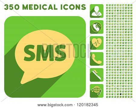 SMS Icon and Medical Longshadow Icon Set