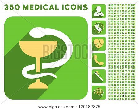 Snake Cup Icon and Medical Longshadow Icon Set