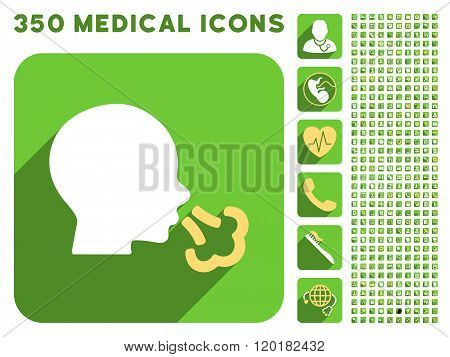 Sneezing Icon and Medical Longshadow Icon Set