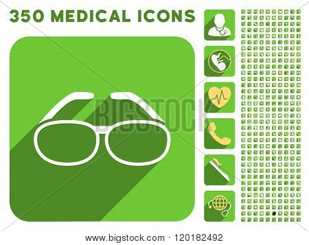 Spectacles Icon and Medical Longshadow Icon Set