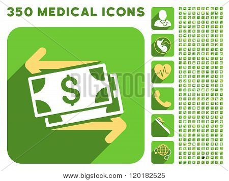 Spend Banknotes Icon and Medical Longshadow Icon Set