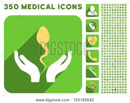 Sperm Care Hands Icon and Medical Longshadow Icon Set