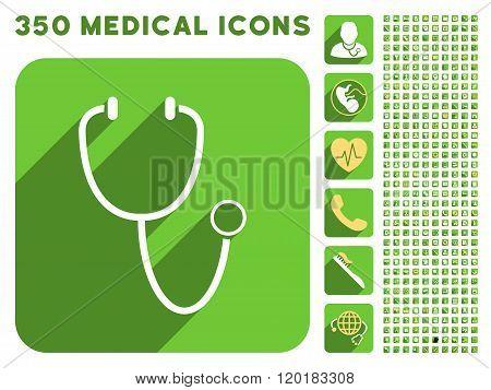 Stethoscope Icon and Medical Longshadow Icon Set