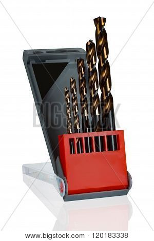 Set Of Drill Bits In Plastic Box