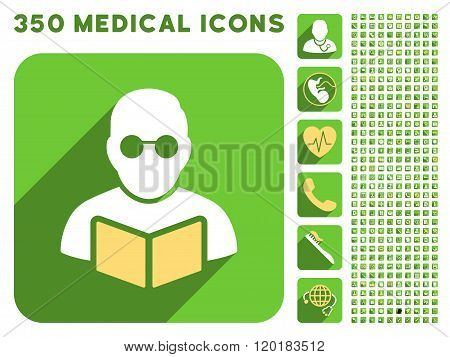 Student Reading Book Icon and Medical Longshadow Icon Set