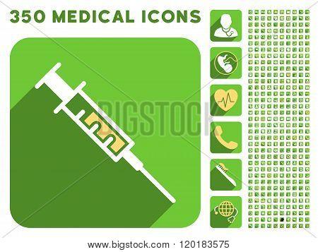 Syringe Icon and Medical Longshadow Icon Set