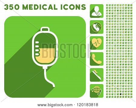Therapy Dropper Icon and Medical Longshadow Icon Set