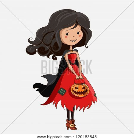 little cartoon witch. Halloween card.