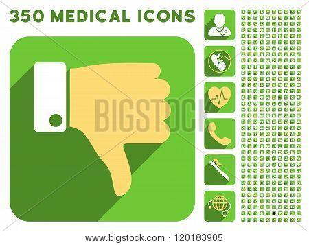 Thumb Down Icon and Medical Longshadow Icon Set