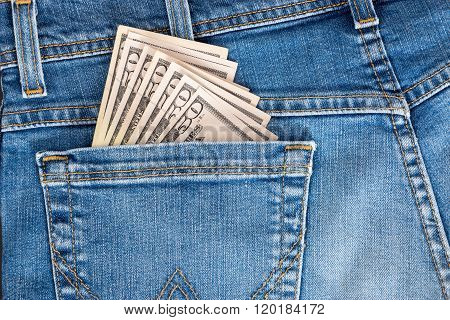 50 American Dollar Currency, Money In Jeans Pocket.