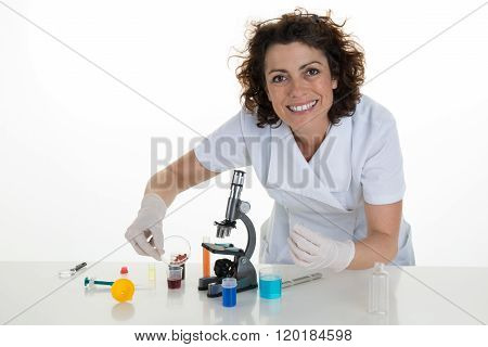 Closeup Portrait, Young Scientist Looking Into Microscope. Isolated Lab Background.