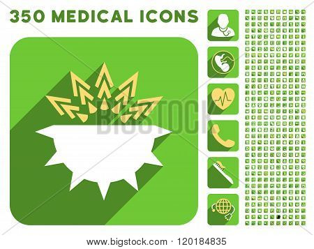 Viral Structure Icon and Medical Longshadow Icon Set