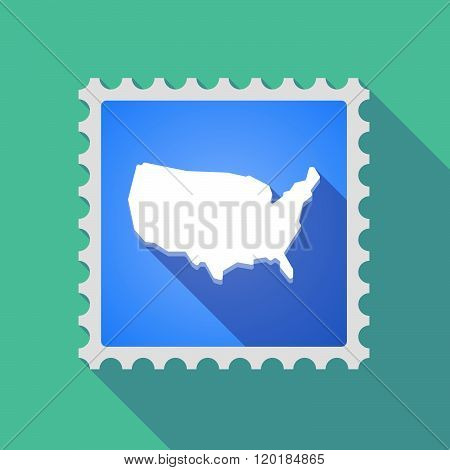 Long Shadow Mail Stamp Icon With  A Map Of The Usa