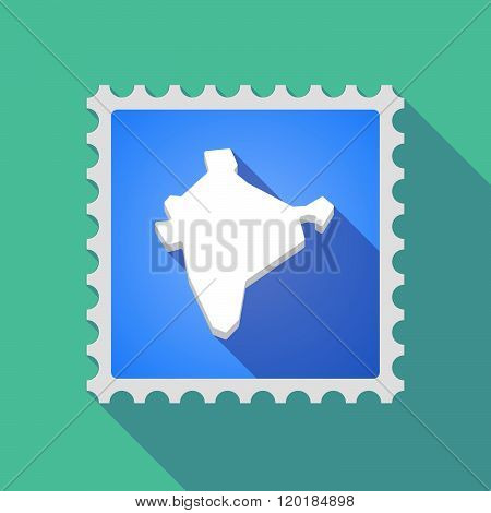 Long Shadow Mail Stamp Icon With  A Map Of India