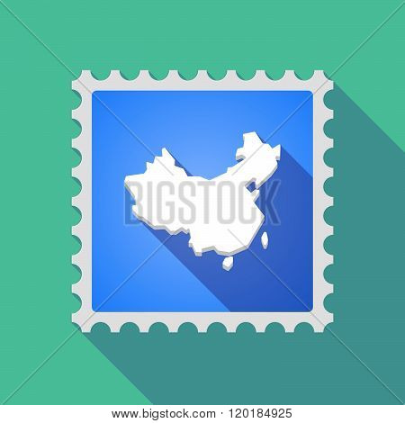 Long Shadow Mail Stamp Icon With  A Map Of China