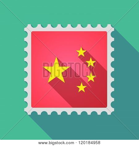 Long Shadow Mail Stamp Icon With  The Five Stars China Flag Symbol