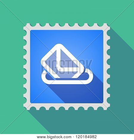 Long Shadow Mail Stamp Icon With  A Ballot Box