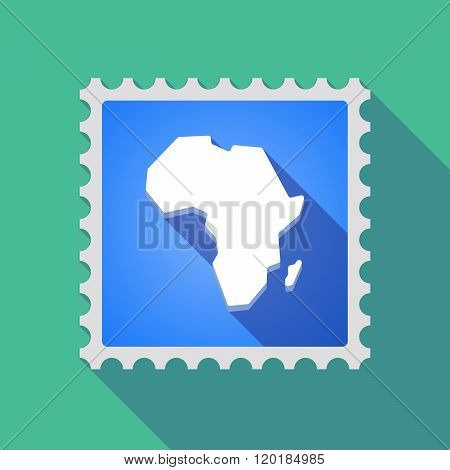 Long Shadow Mail Stamp Icon With  A Map Of The African Continent