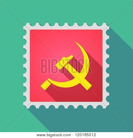 Long Shadow Mail Stamp Icon With  The Communist Symbol